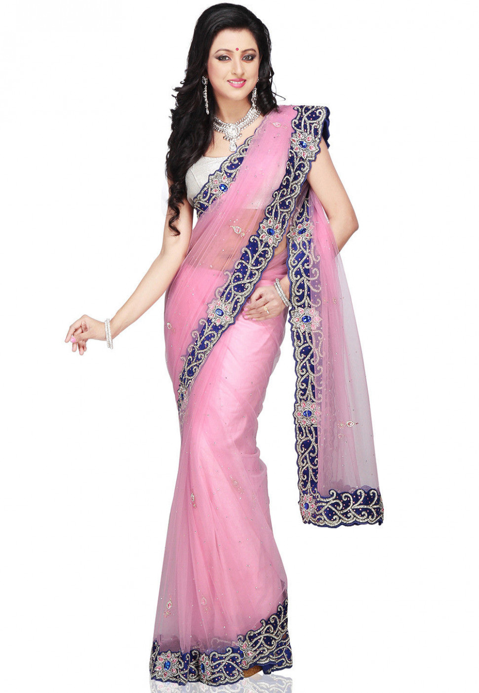 Hand Embroidered Shimmer Net Saree in Baby Pink : SEH351