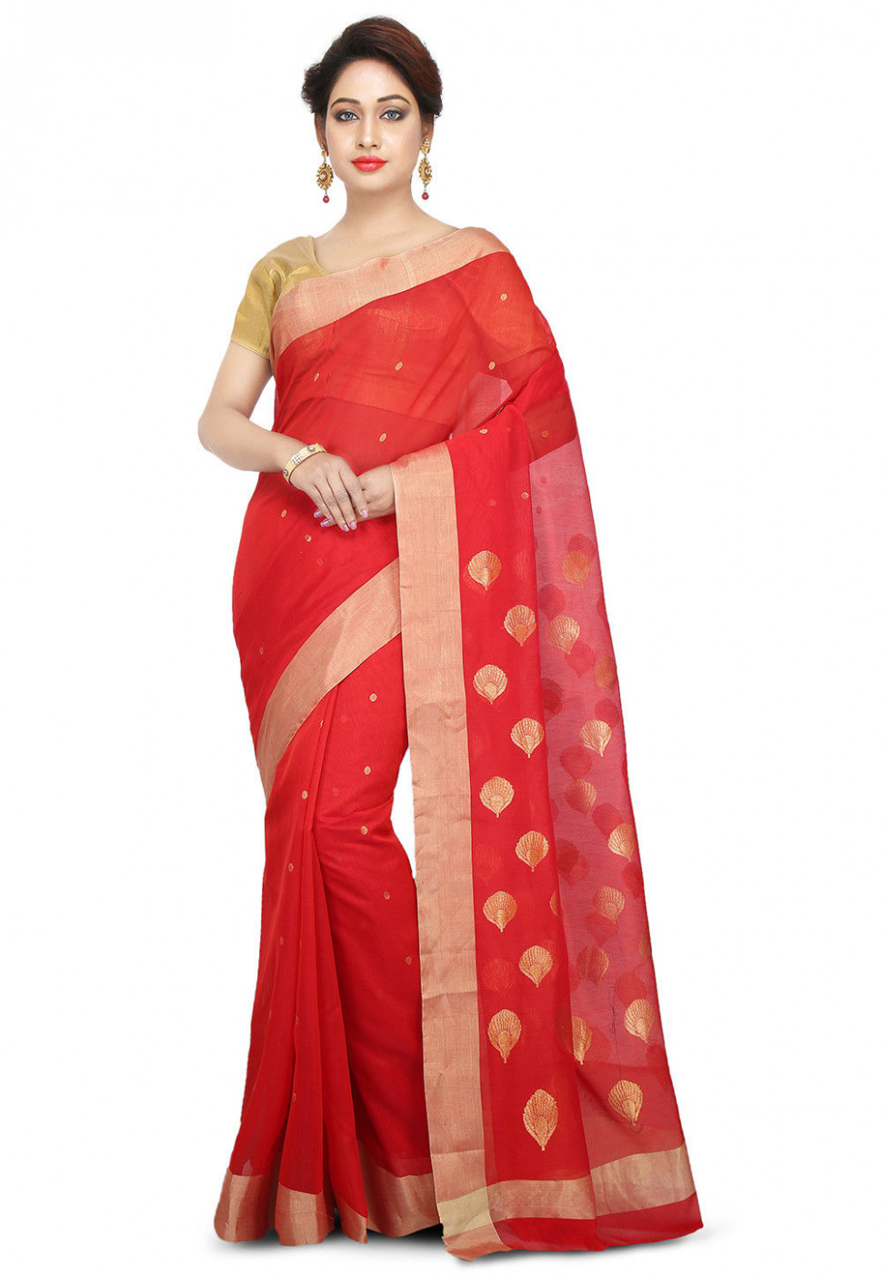 Handloom Chanderi Silk Saree in Red : SKBA170