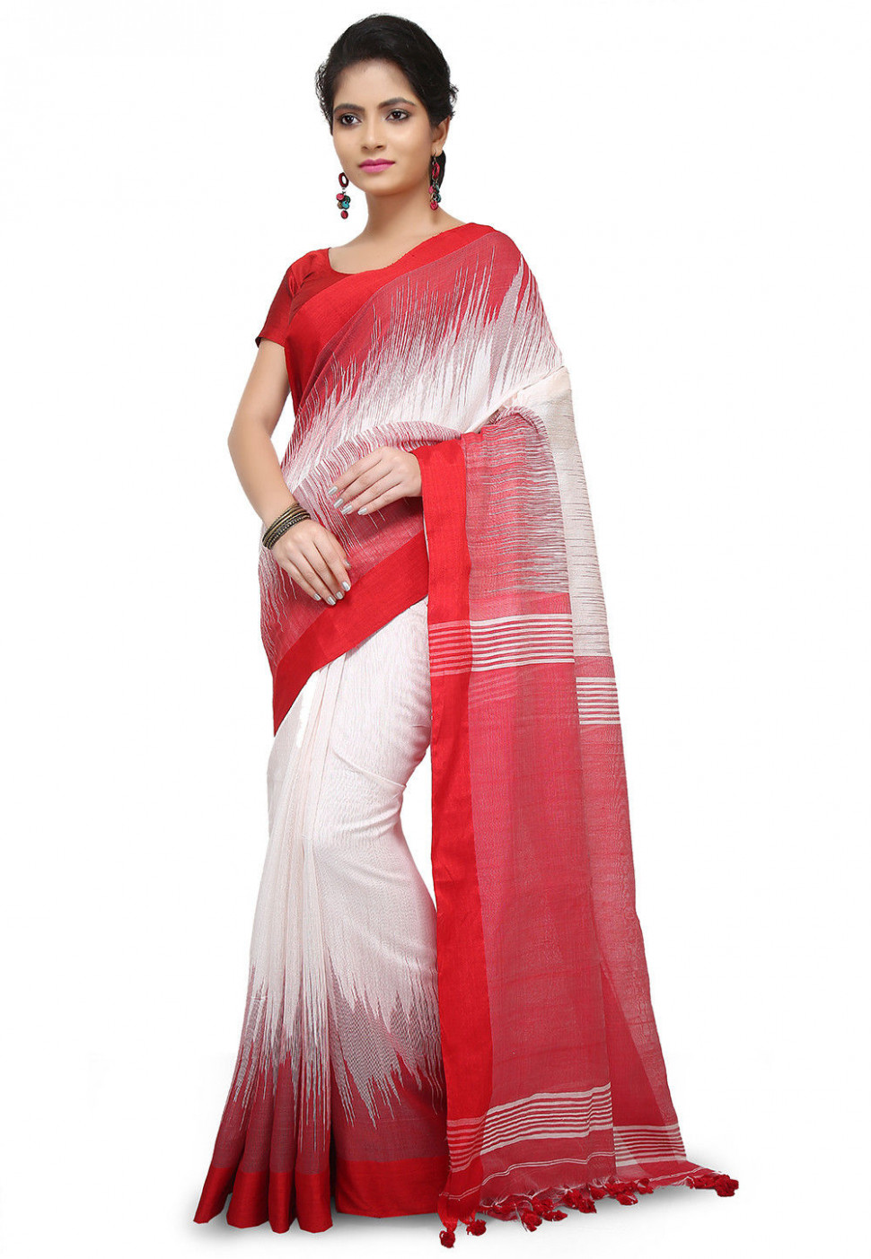 Handloom Cotton Silk Saree in White and Red : SCXA801