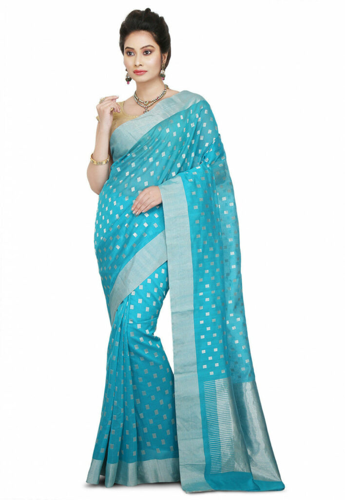 Handloom Pure Chanderi Silk Saree in Light Blue : SKBA215
