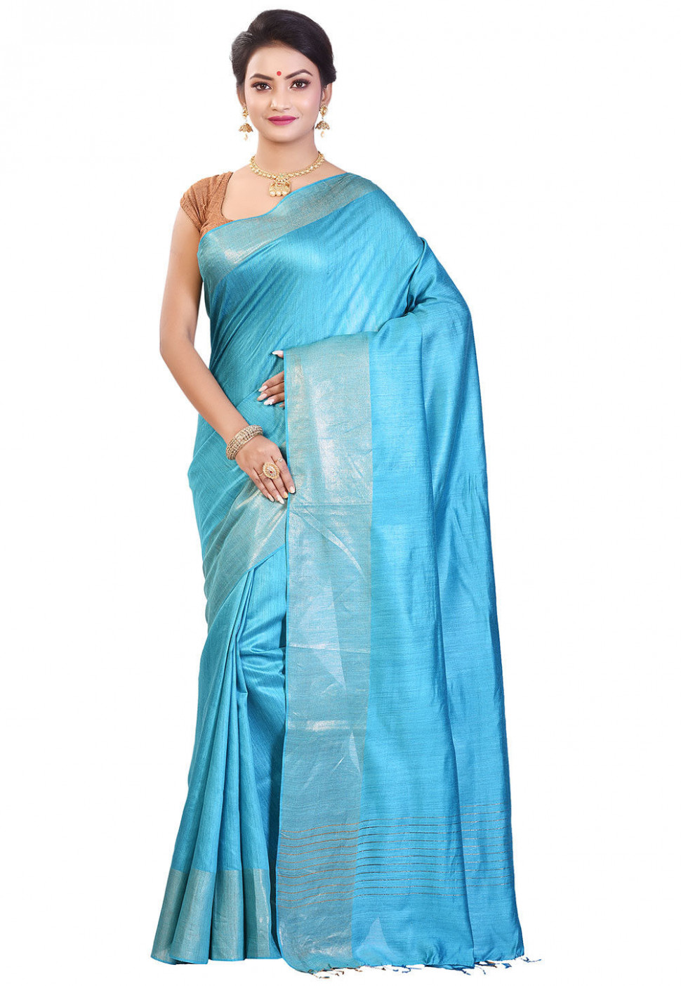 Handloom Pure Muga Silk Saree in Sky Blue : SHXA1223