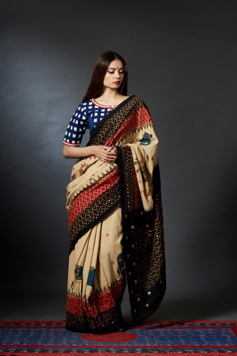 Hast-Kala - Kalamkari Mirror Embroidery Saree – Anuradha Ramam - mirror saree