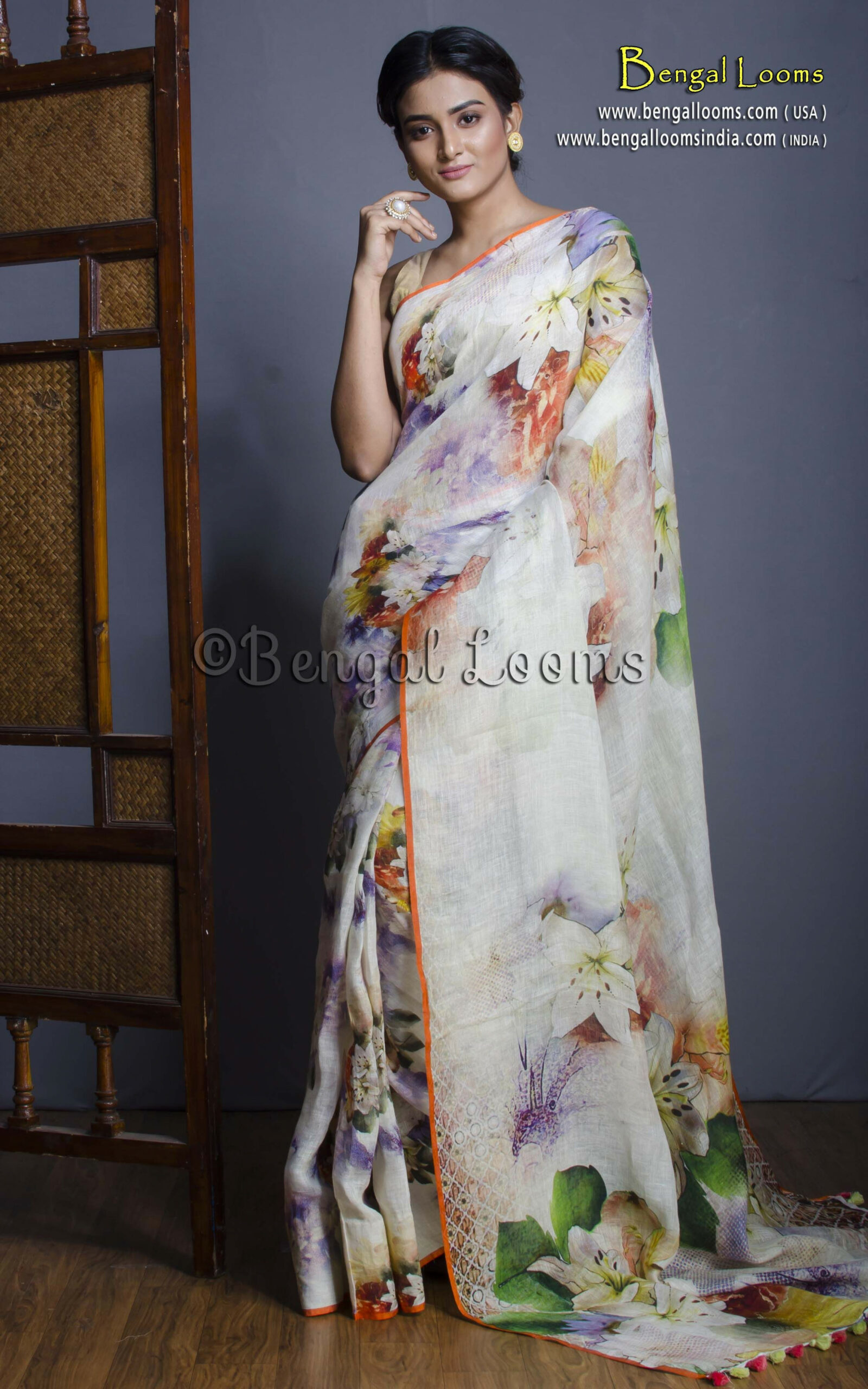 High Thread Count Digital Printed Floral Linen Saree in