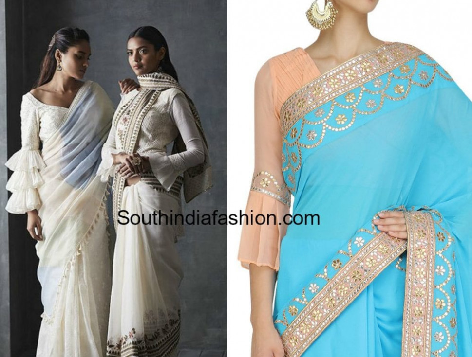 Hottest Trend: Bell Sleeves and Ruffle Sleeves Saree