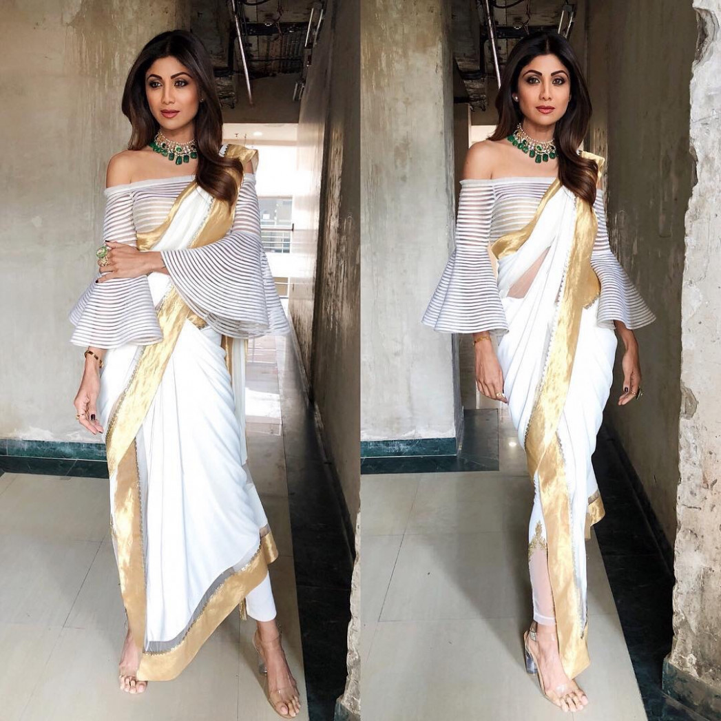 How to style Indo-Western Saree like Shilpa Shetty