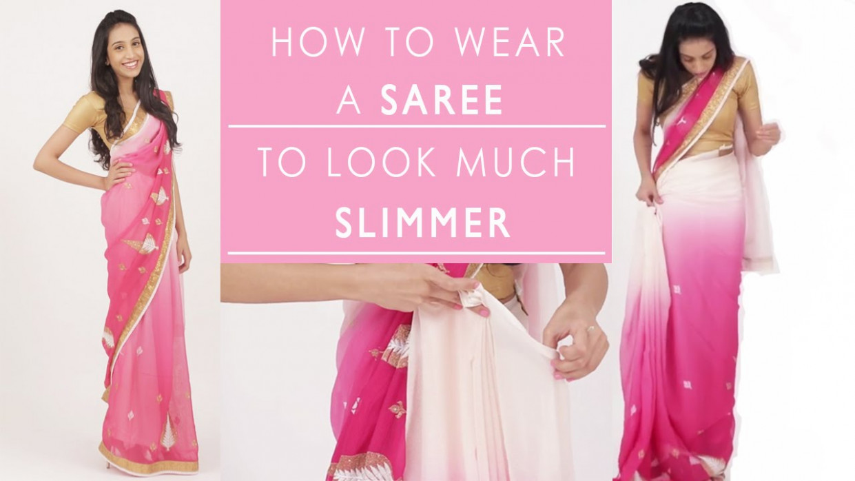 How To Wear A Saree To Look Slim - YouTube