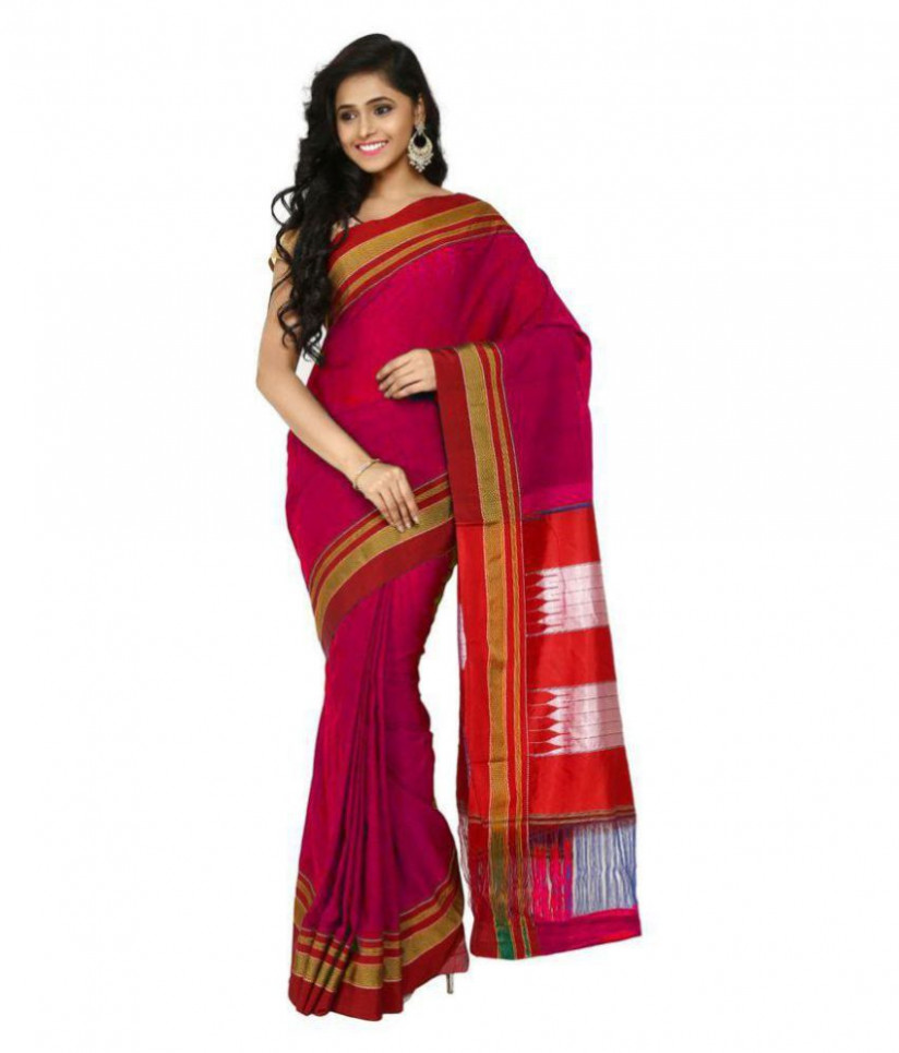 ILKAL SAREE Red Cotton Silk Saree - Buy ILKAL SAREE Red