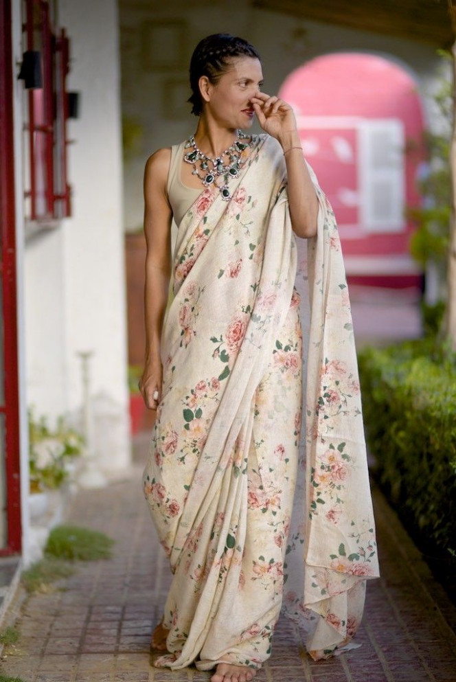 Image result for vintage floral saree  Handloom saree