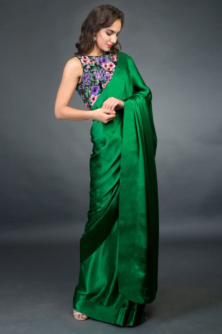In Full Bloom Emerald Green Saree with Embroidered Blouse