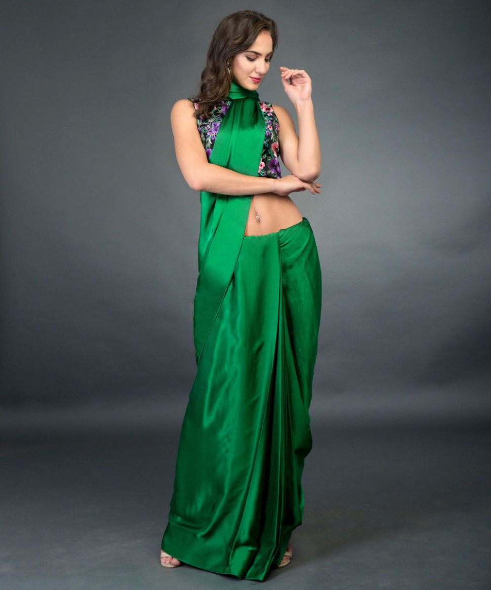 In Full Bloom Emerald Green Saree with Floral Embroidered