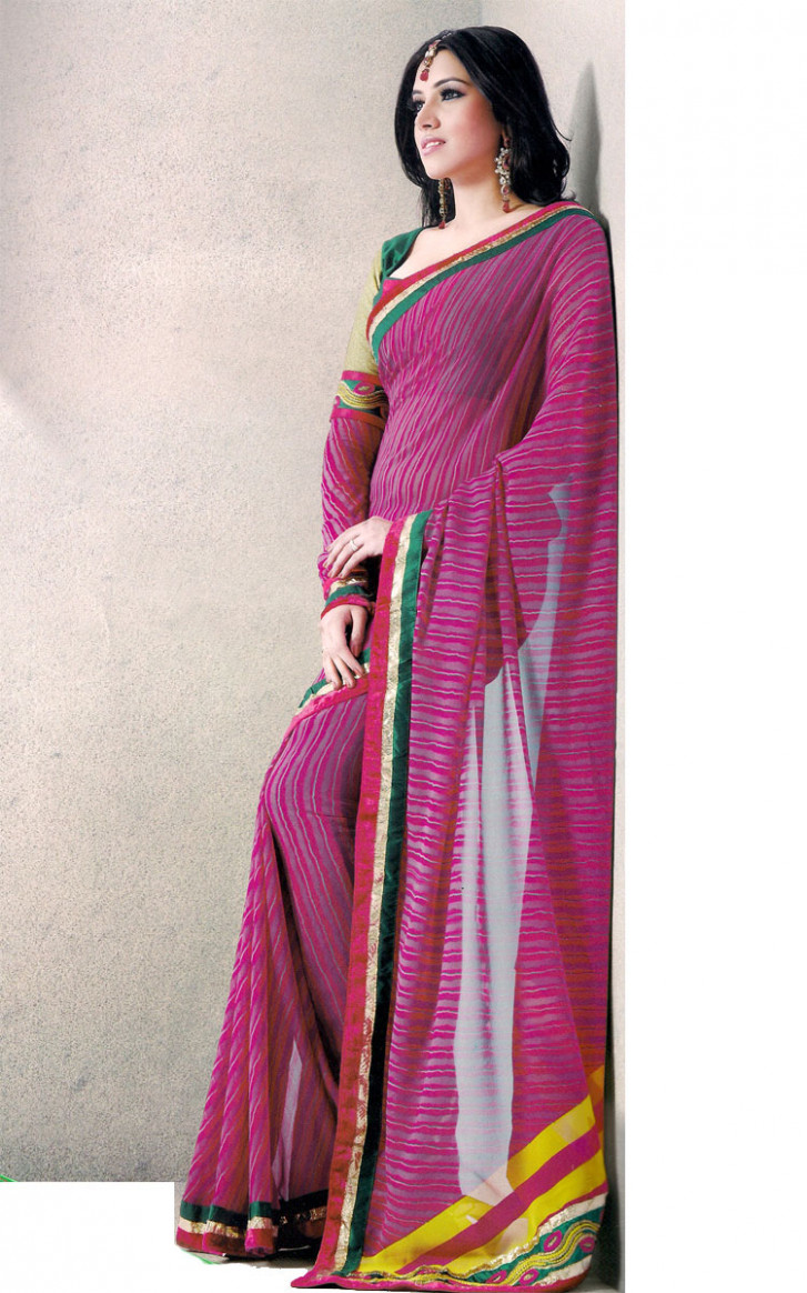 Indian Saree Palace, Pink color printed Georgette Saree