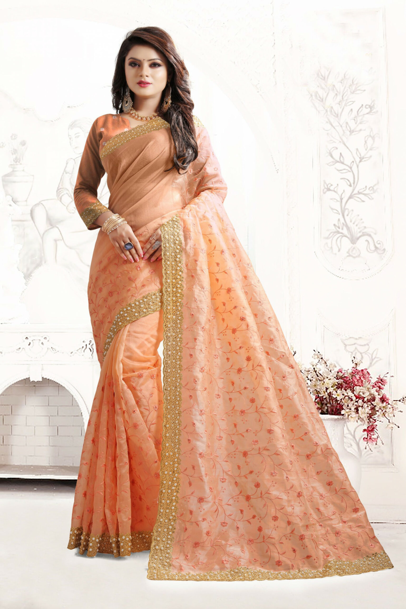 Indian Wedding Art Silk Peach Colour Saree 1553