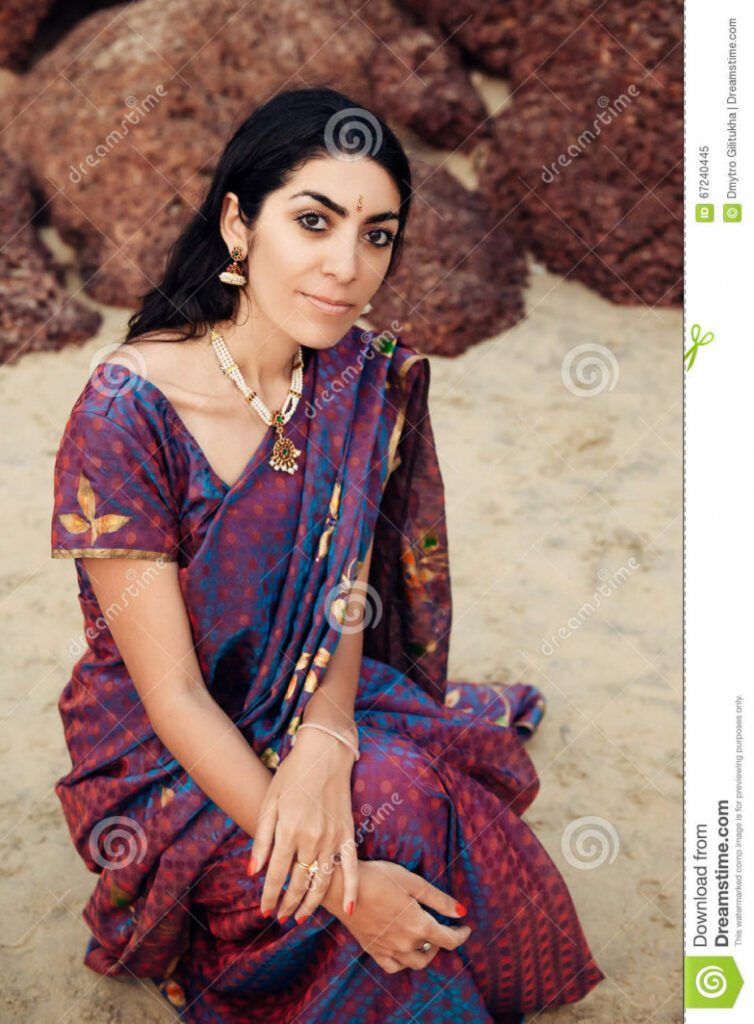 Indian Woman In Beautiful Saree Stock Image - Image of