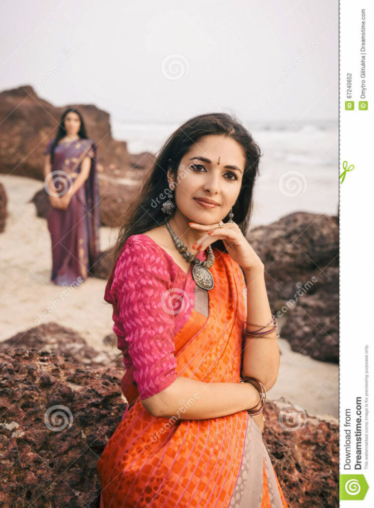 Indian Woman In Beautiful Saree Stock Photo - Image of