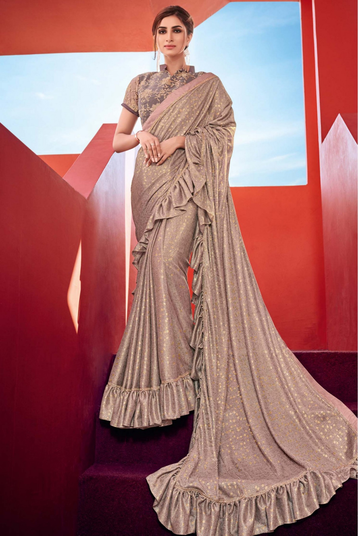 Indian Women Imported Fabric Ruffle Saree In Gold Colour