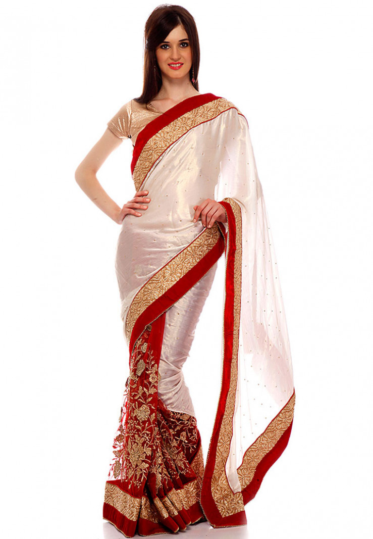 Ishi Maya White and Red Party wear Net Saree - Footwear