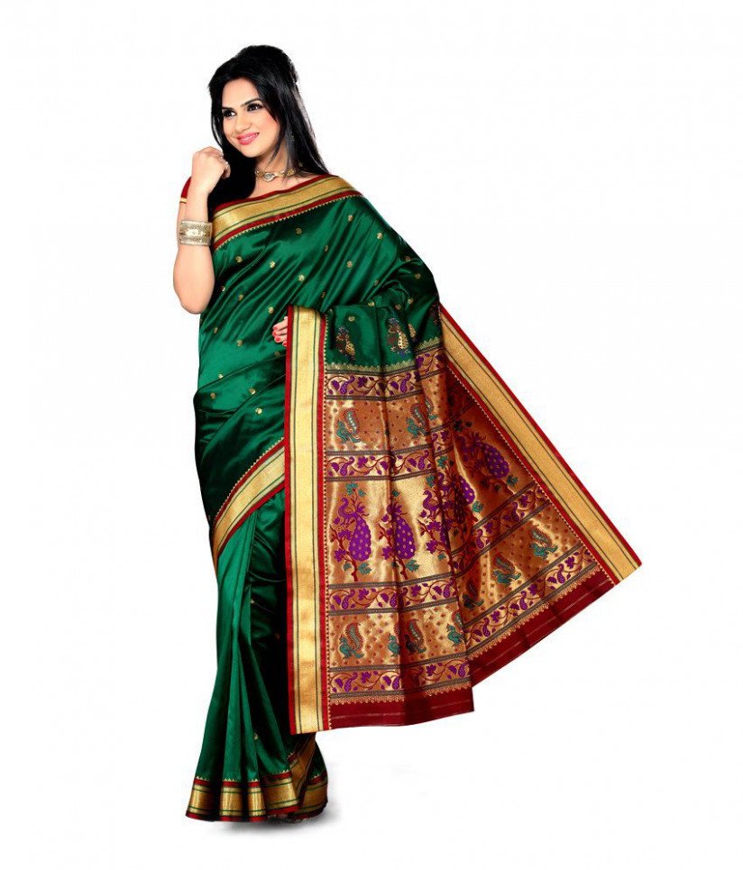 Ishin Green and Brown Silk Saree - Buy Ishin Green and