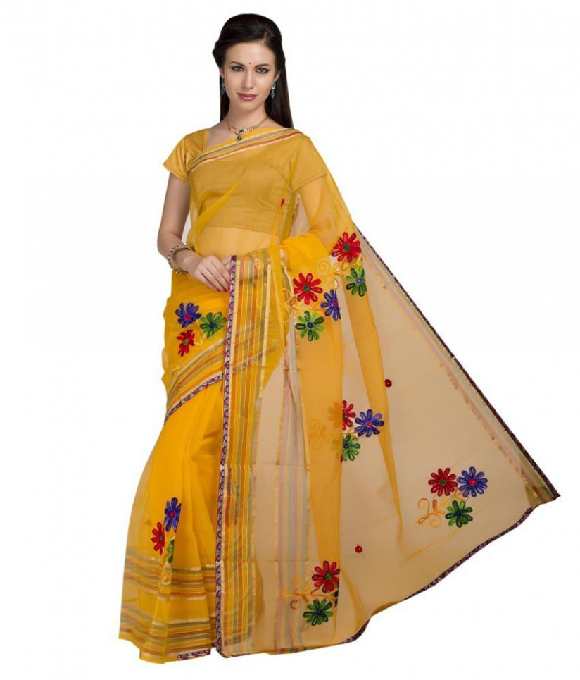 ISHIN Yellow Tissue Saree - Buy ISHIN Yellow Tissue Saree