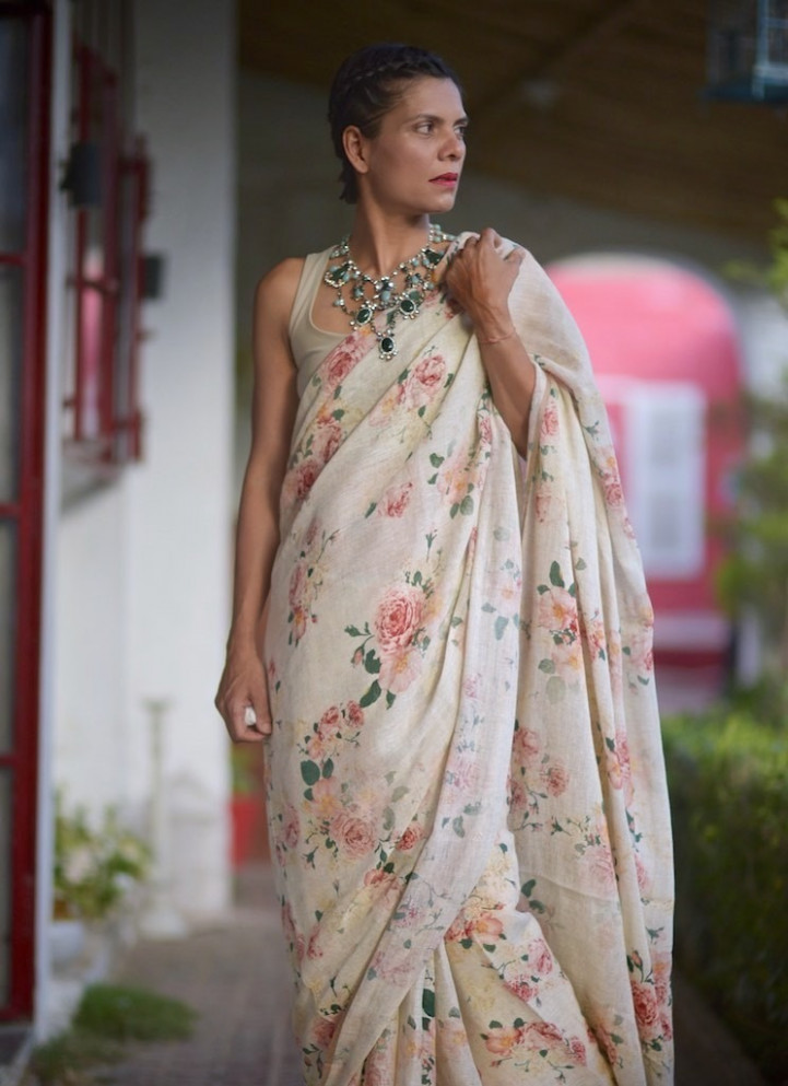 ivory linen saree in vintage floral print  HappyShappy