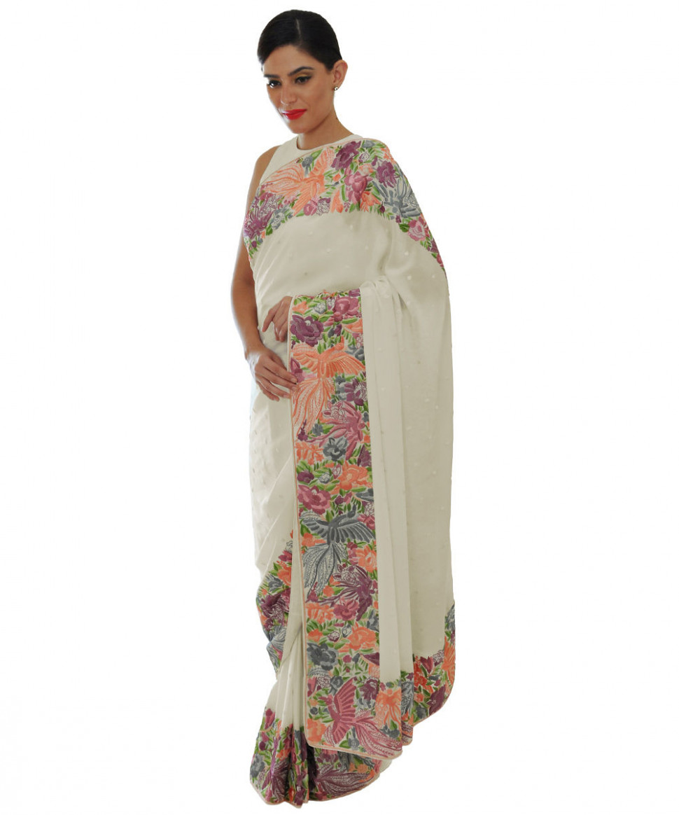 Ivory Parsi Gara Hand Embroidered Pure Crepe Saree