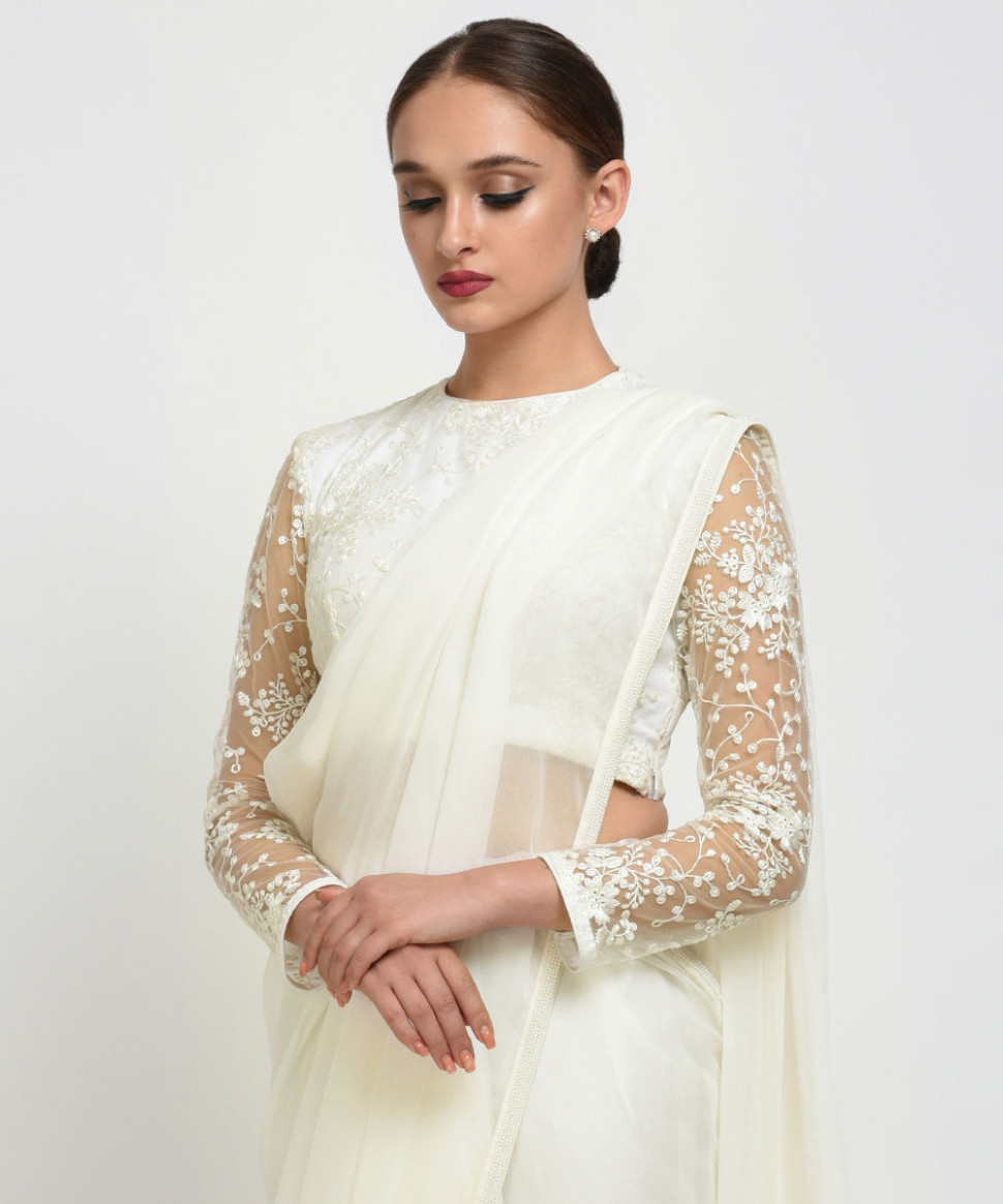 Ivory Pearl Beads Hand Embroidered Saree With Floral Net