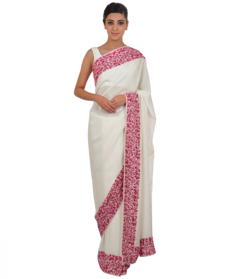 Ivory- Pink Parsi Gara Hand Embroidered Pure Crepe Saree