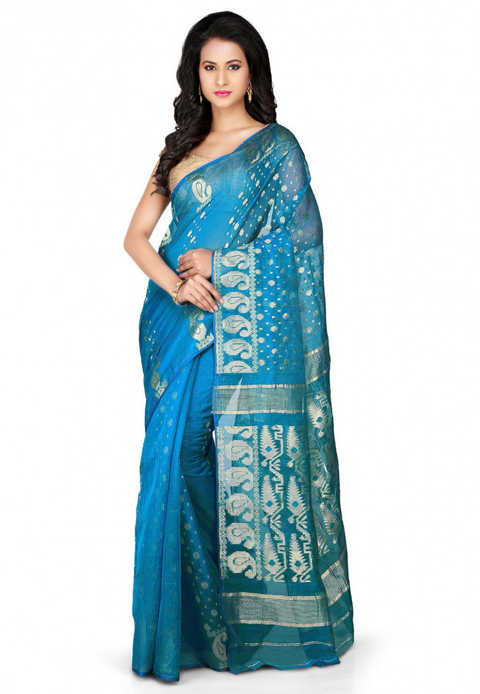 Jamdani Cotton Silk Saree in Blue : SSWA37