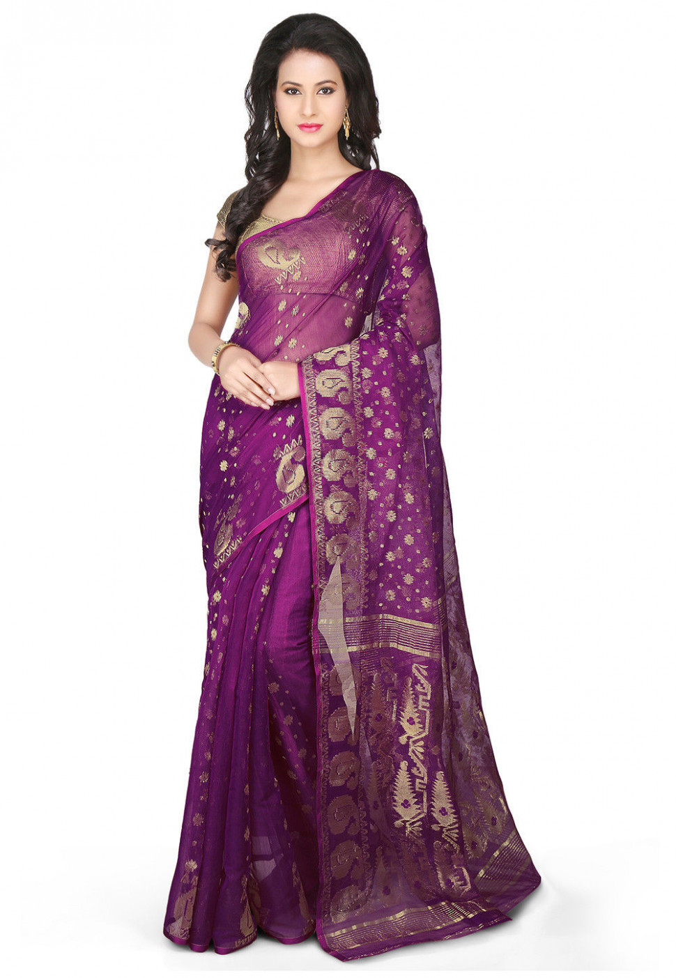 Jamdani Cotton Silk Saree in Violet : SSWA39