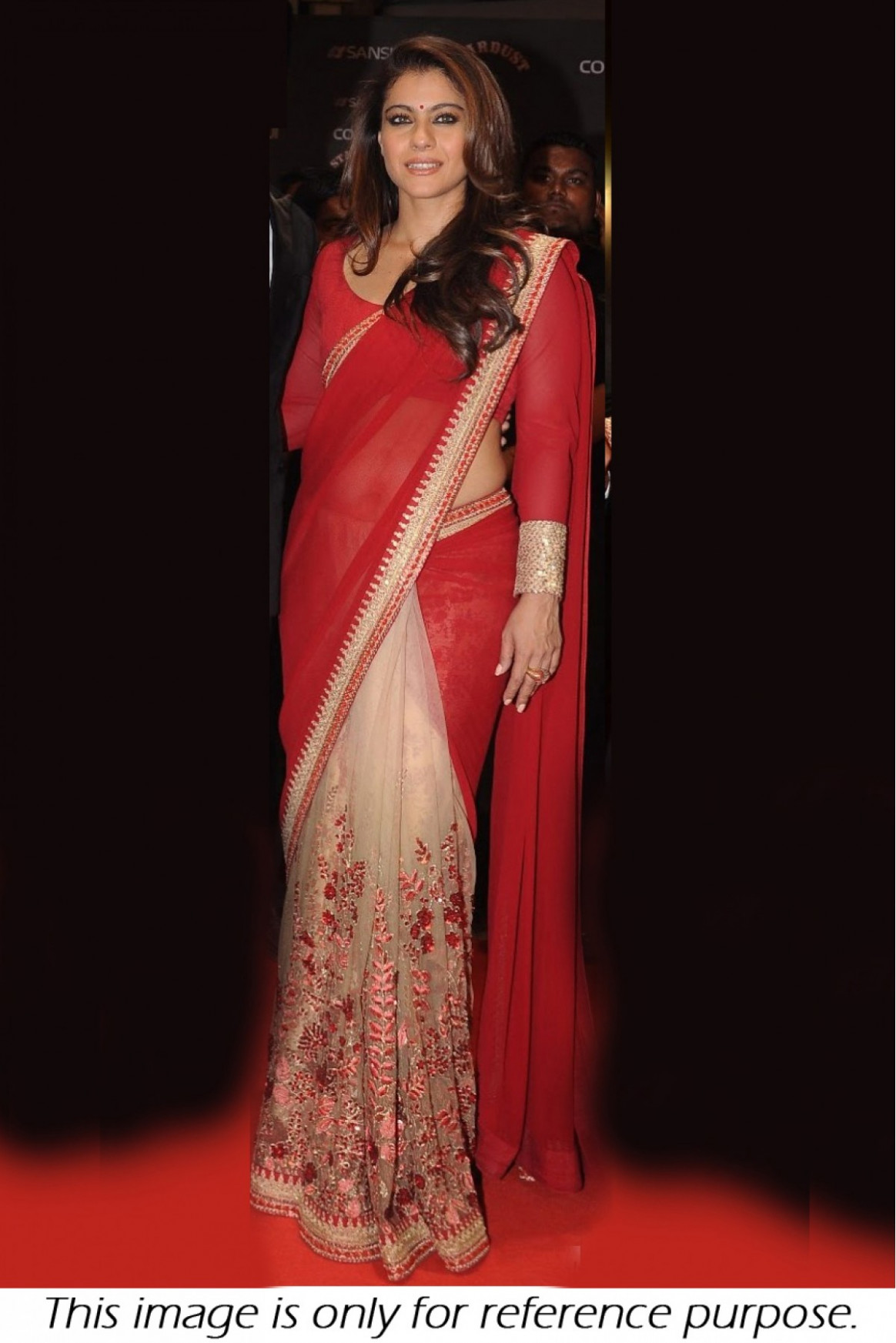 Kajol 60 GM Georgette and Net Saree In Red and Cream Colour