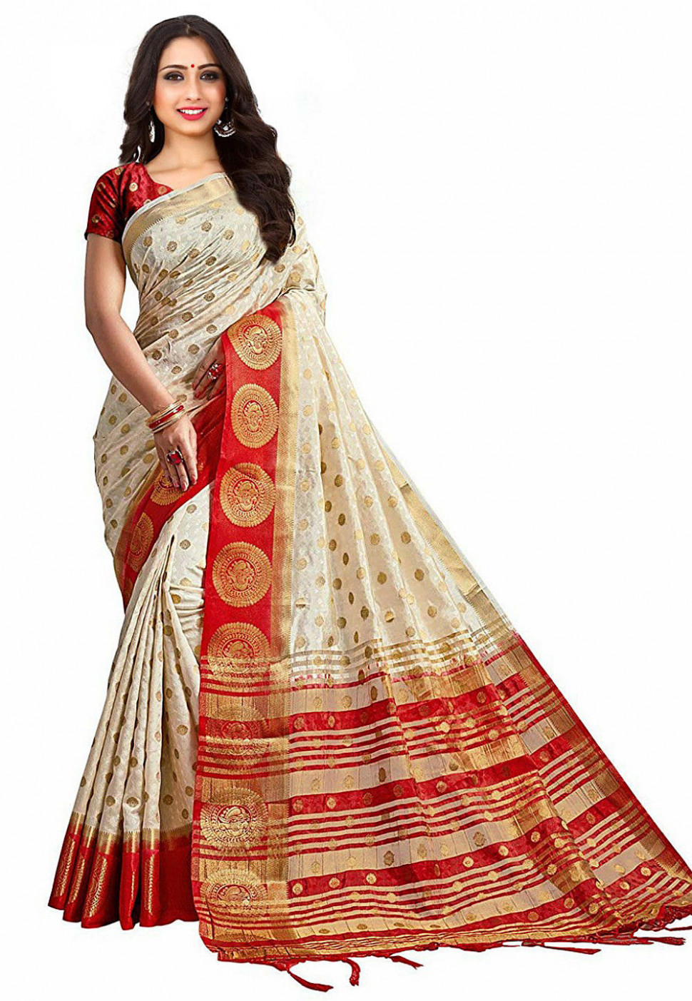 Kanchipuram Saree in Off White and Red : SEH2258
