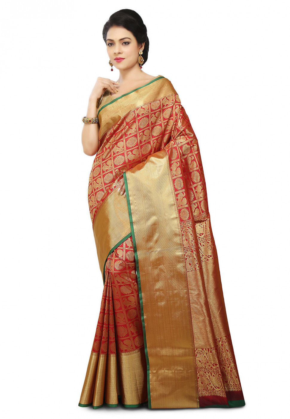 Kanchipuram Saree in Red : SBRA890