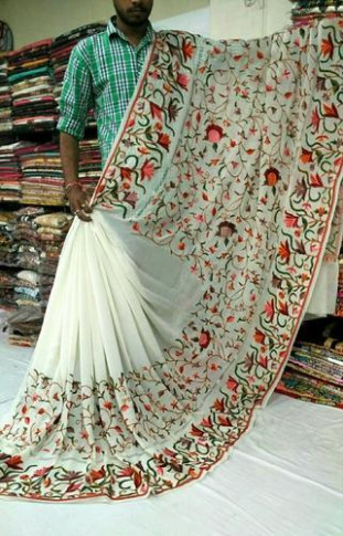 Kashmiri Embroidered Sarees - View Specifications