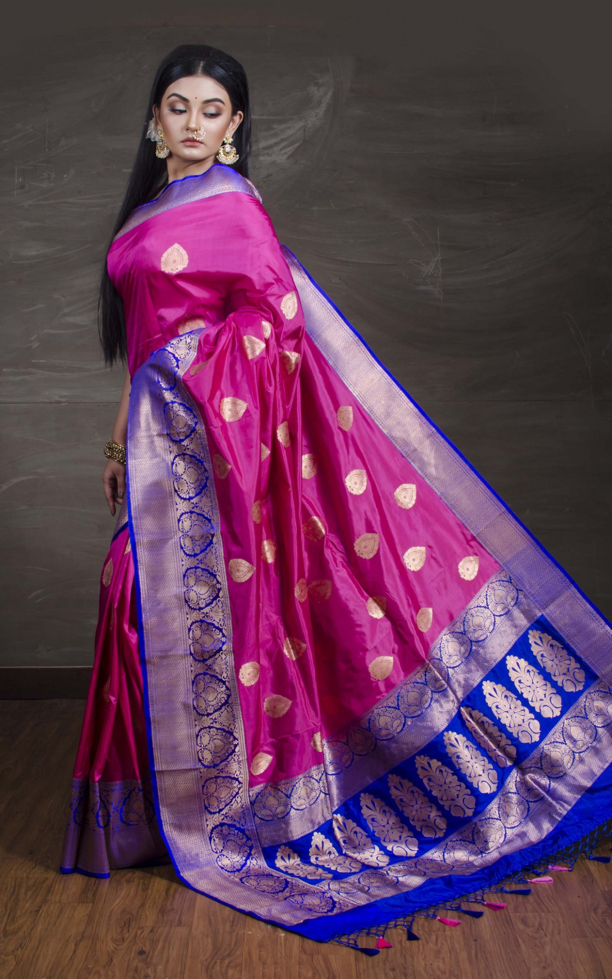 Katan Silk Banarasi Saree in Pink and Blue – Bengal Looms