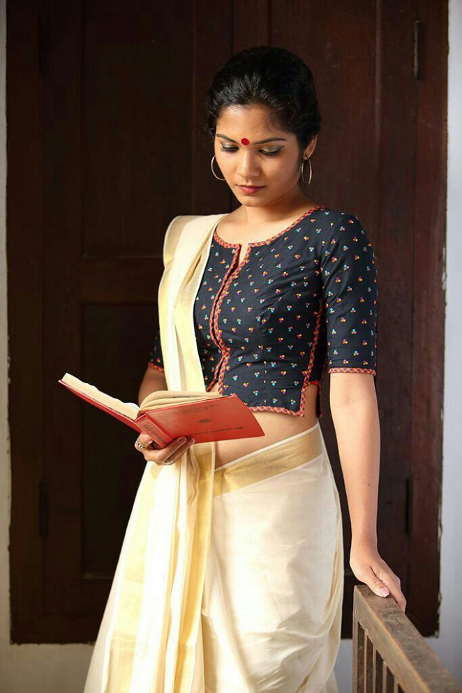 Kerala saree with printed blouse..luv it  Kerala saree