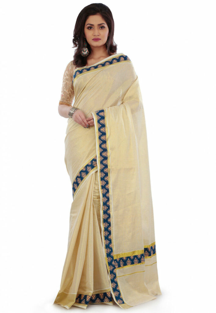 Kerela kasavu Embroidered Cotton Tissue Saree in Light