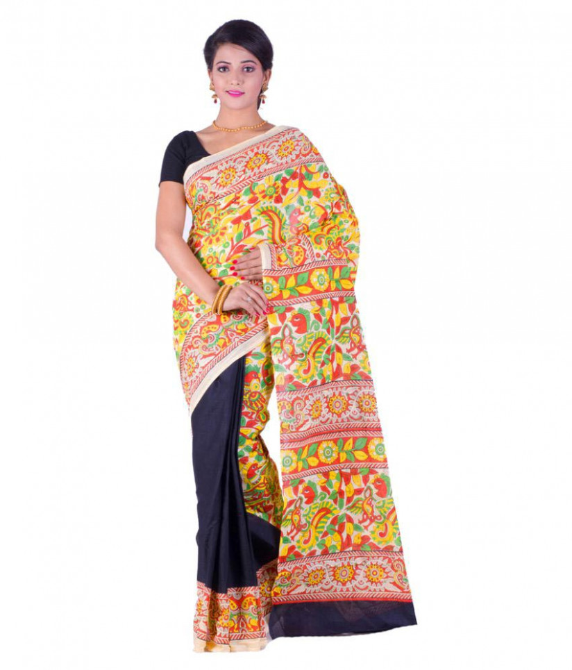 Kheyali Boutique Yellow and Beige Cotton Saree - Buy