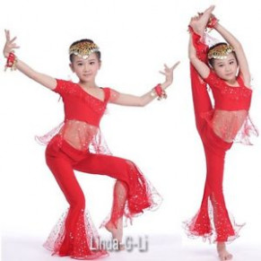 Kids Girls Belly Dance Top+Pants Set Outfit sequins