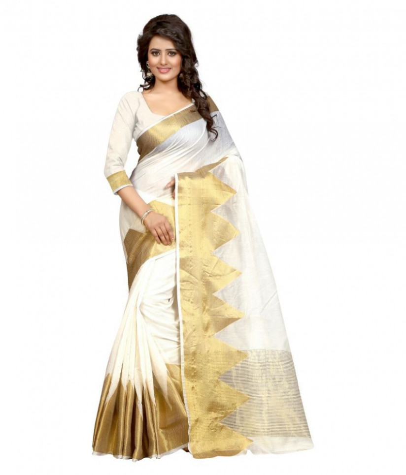 Kunika Sarees White Tissue Saree - Buy Kunika Sarees White