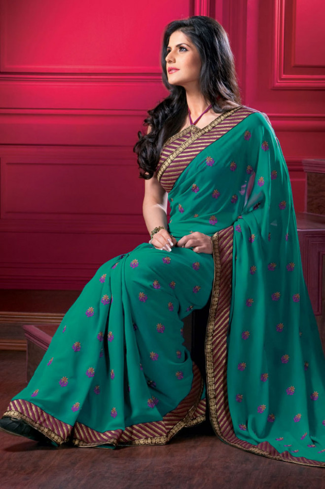 Latest Designer Saree in Green Color with Matching Saree