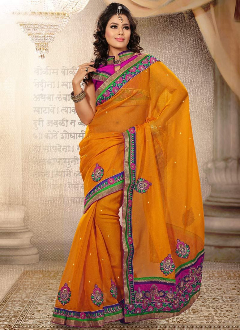 Latest Orange Organza Silk Saree