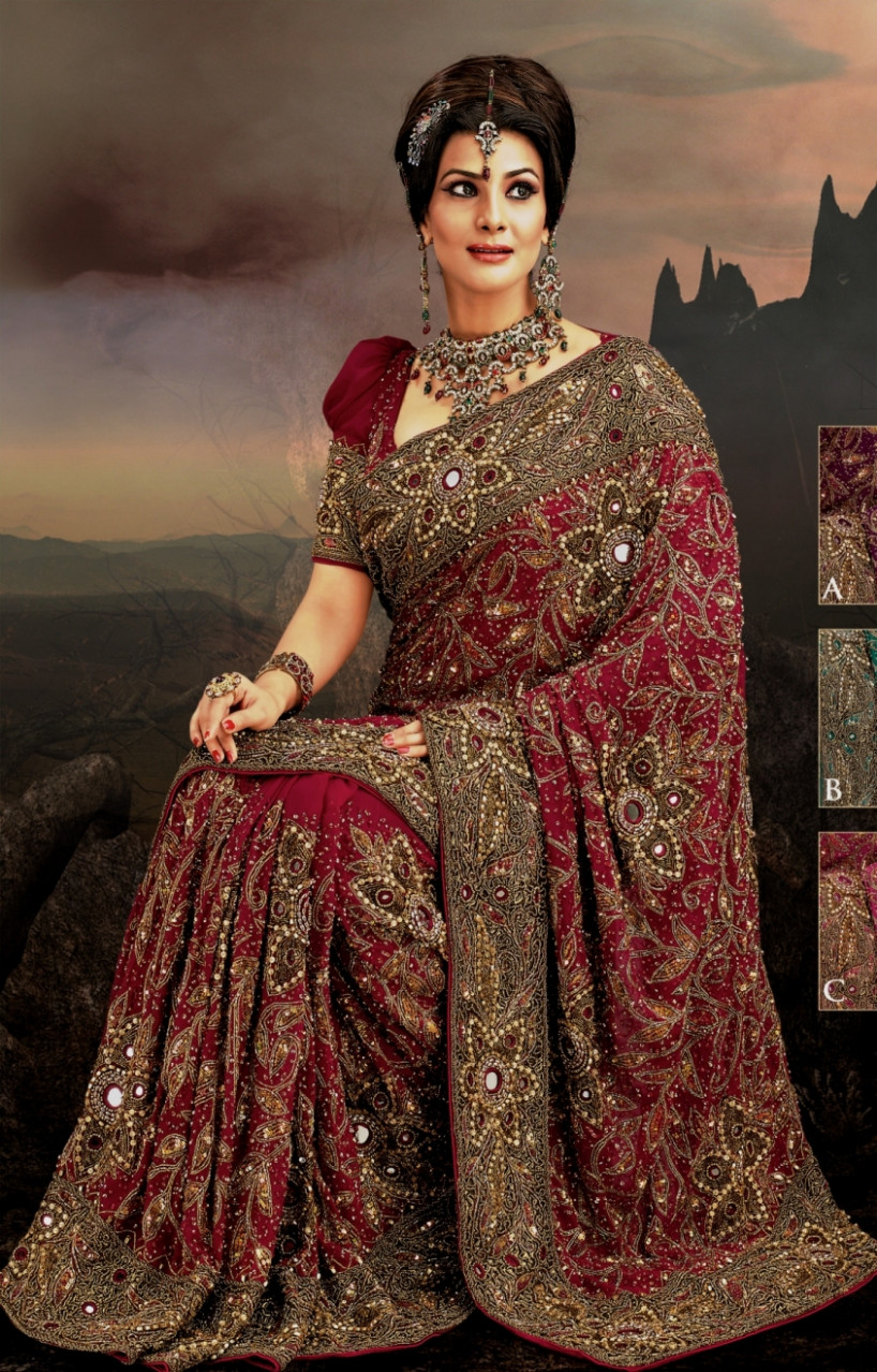 Latest saree collection Heavy embroidered sarees  How to  - indian saree com