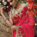 Latest saree fashion, Red net seasons sarees