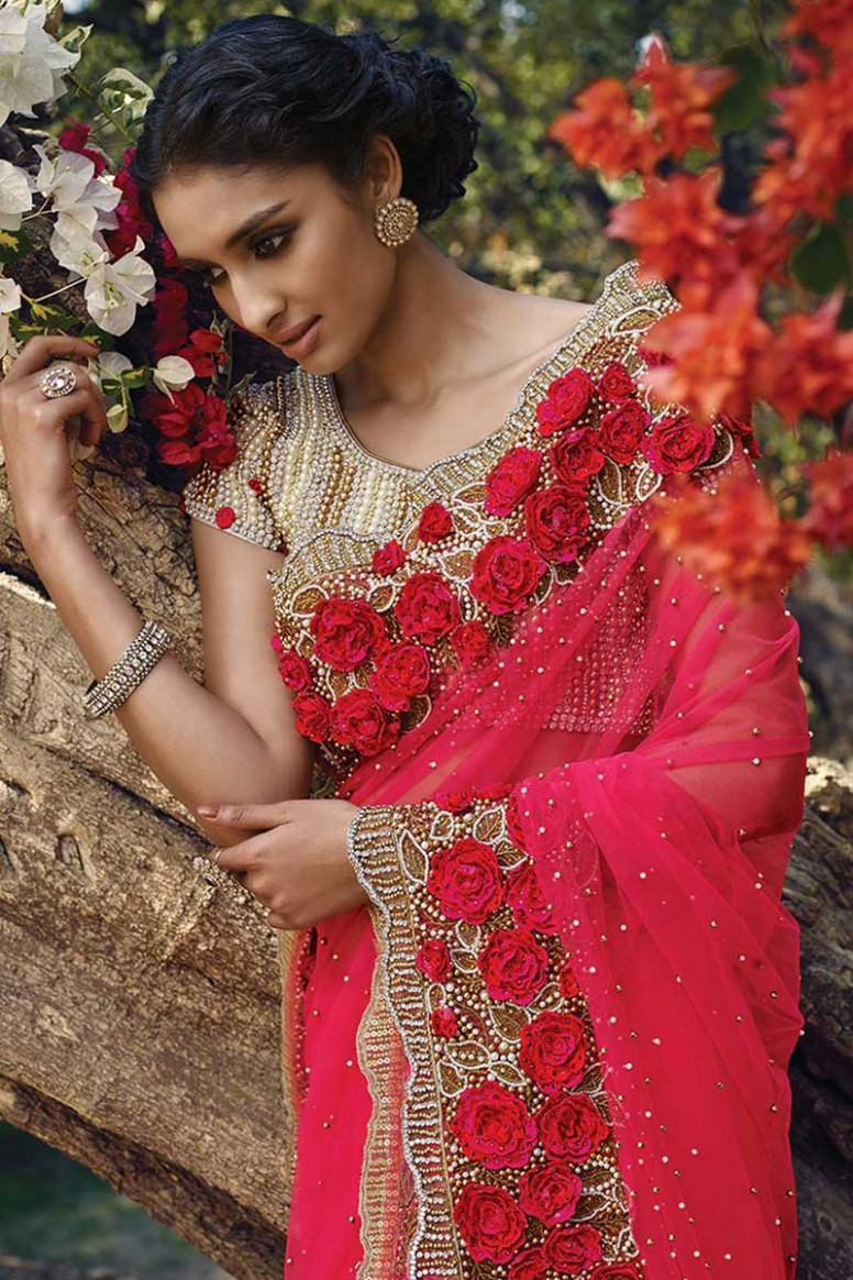Latest saree fashion, Red net seasons sarees - saree no blouse