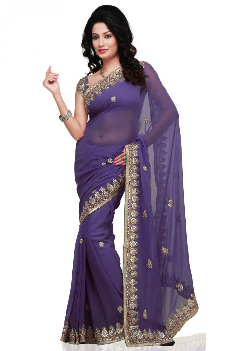Lavender Faux Georgette Saree with Blouse : SJN4582