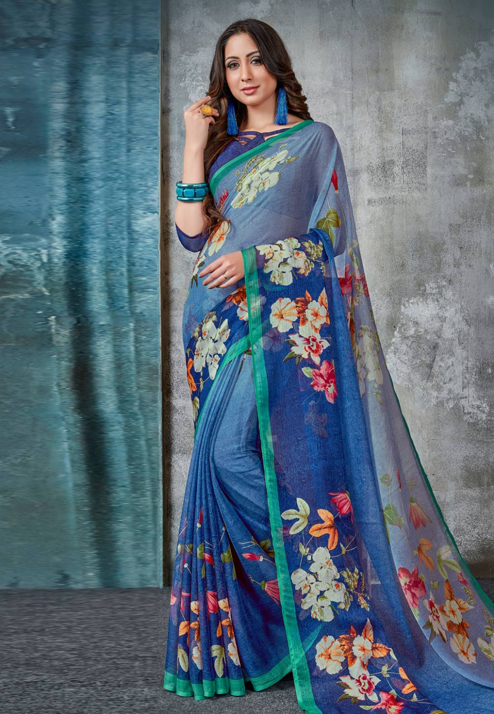 Light Blue Chiffon Printed Light Weight Saree 171754