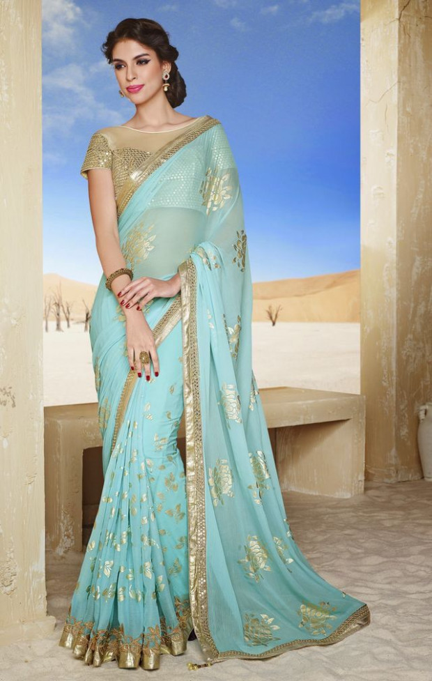Light blue sari with golden work (With images)  Party