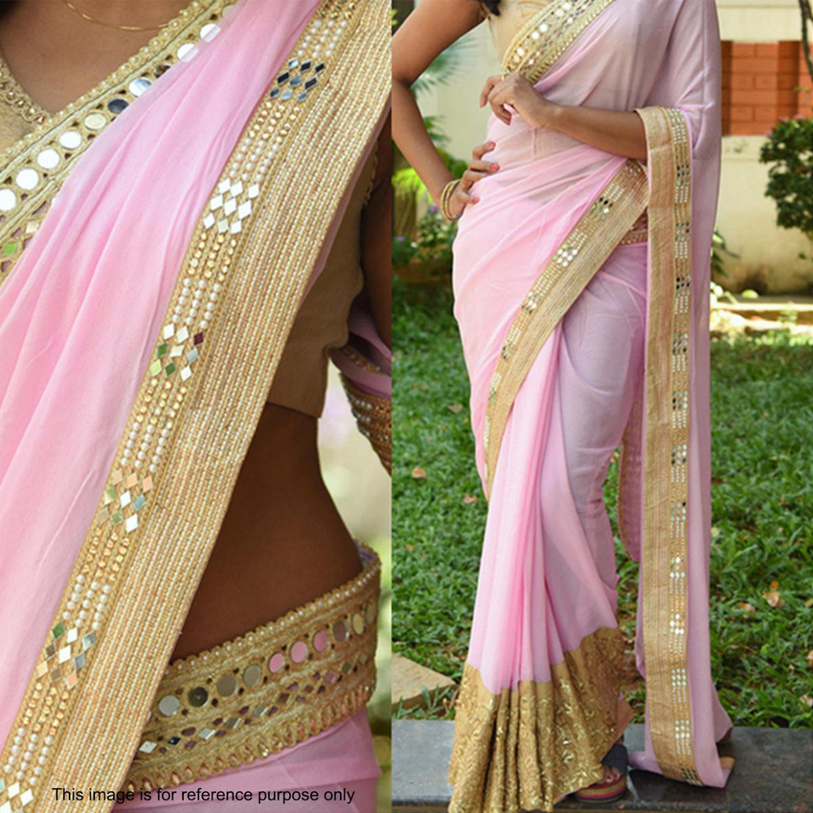 Light Pink Saree with Golden Blouse - Online Fashion