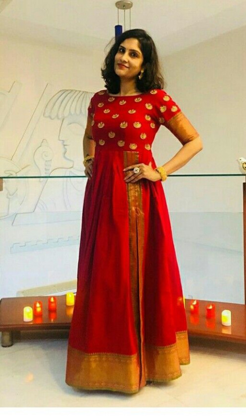 Long Dresses made out of old and Damaged Sarees #LongDresses