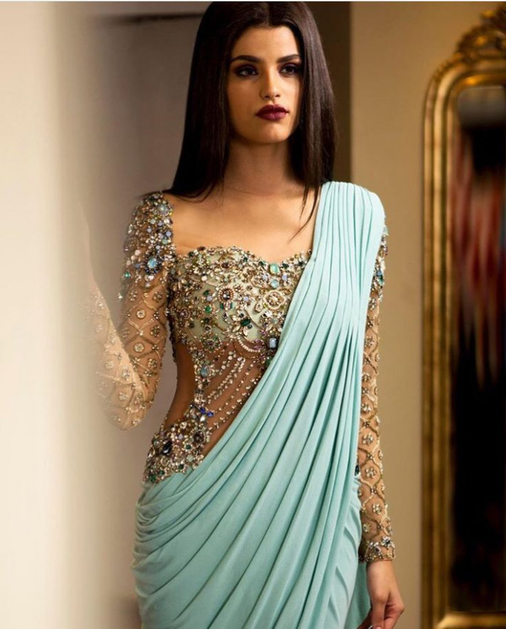 Long sleeve saree  Indian fashion, Indian outfits, Fashion
