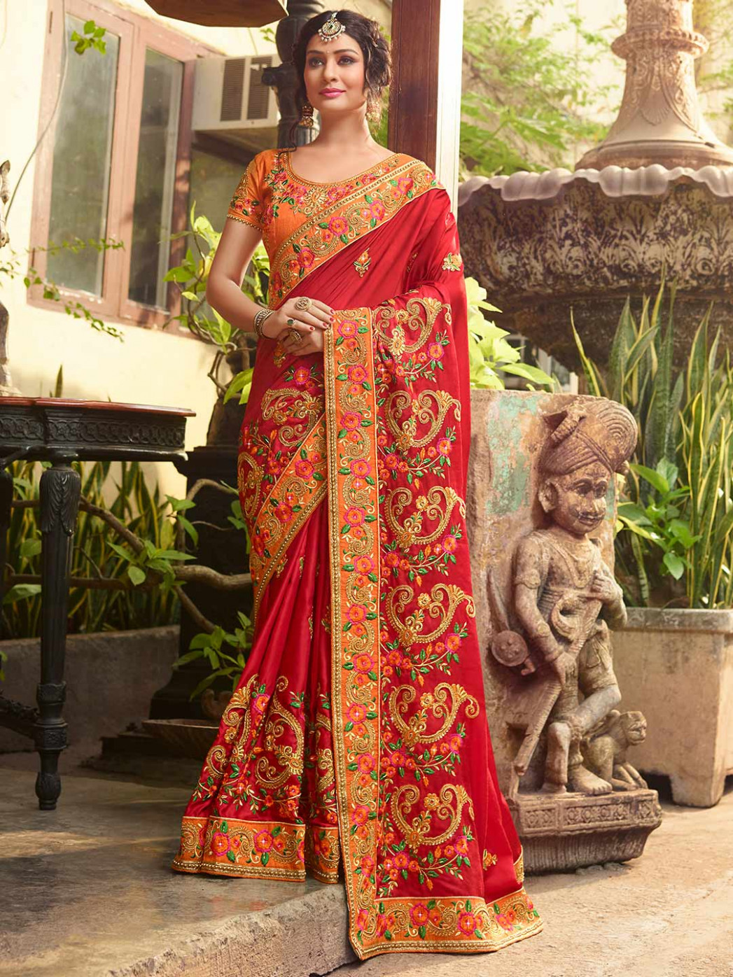 Lovely red wedding saree in satin fabric - G3-WSA32041